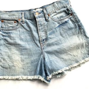 Madewell light wash High Rise cut off jean shorts